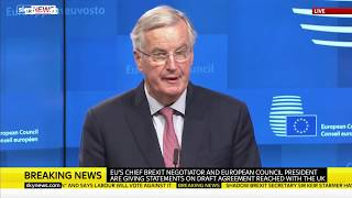 Tusk and Barnier react to Theresa May's Brexit agreement - SKYNEWS