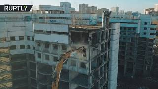 'Resident Evil': Huge crane crushes abandoned Moscow horror hospital (drone footage) - RUSSIATODAY