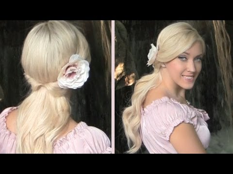 Cute and easy romantic half updo with curls for long hair tutorial