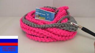 Двойной луп шарф из воздушных петель вязание крючком