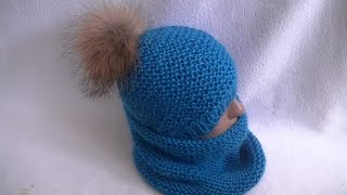 Вязание снуда узором платочная вязка.Knit garter stitch pattern LICs