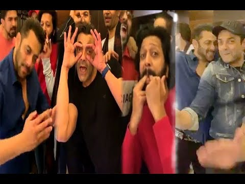 Salman Khan &  Bobby Deol CRAZY Celebration  & Others on Return of Cap  Abinandhan
