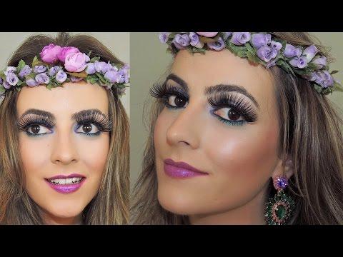 Maquiagem Carnaval 2015 - Roxo, Rosa e Azul