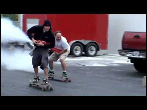 Longboarding with fire extinguishers