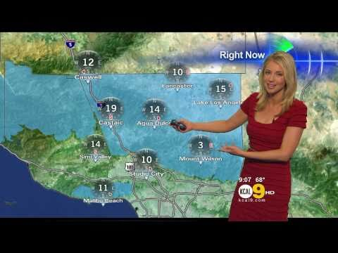 Evelyn Taft 2011/04/26 9PM KCAL9 HD; Red dress, low-cut