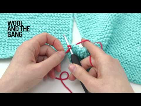 How join two pieces of knitting with crochet