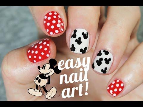 Diseño de uñas SUPER FÁCIL y rápido de Mickey Mouse