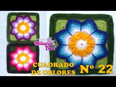 Cuadro, cuadrado o pastilla tejida a crochet o ganchillo paso a paso para colchas y cojines