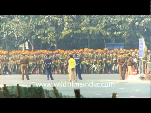 Soldiers marching  on Republic Day Rehearsal 2011