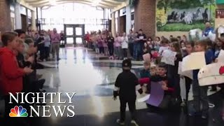 Kindergartner Battling Cancer Gets A Hero's Welcome From His Classmates | NBC Nightly News - NBCNEWS