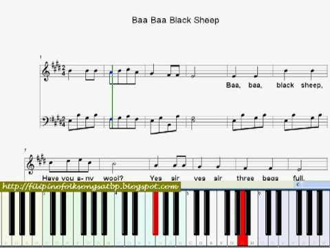 Baa Baa Black Sheep: Nursery Rhyme (Piano Sheet Music Video with Lyrics)