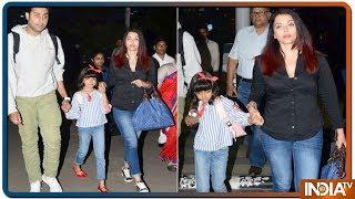 Aishwarya Rai Bachchan, Abhishek Bachchan Return With Aaradhya From Their Goa Vacation - INDIATV