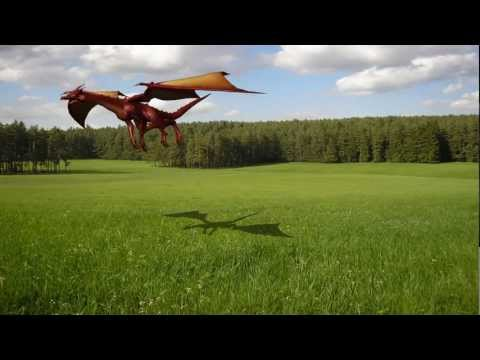 Dragon in flight over - presentation and green screen template -  green screen effects
