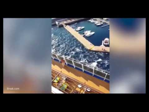 shows the moment a 134,000-ton cruise liner smashed a pontoon to pieces with the 'mini tsunami' caused by its powerful engine