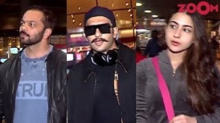 'Simmba' Stars Ranveer Singh, Sara Ali Khan & Rohit Shetty spotted at the airport - ZOOMDEKHO
