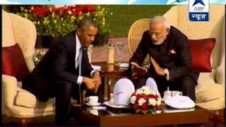 'Chai Pe Charcha' : PM Modi with US President Obama at Hyderabad House - ABPNEWSTV