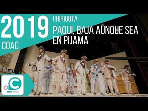 Sesión de Preliminares, la agrupación Paqui, baja aunque sea en pijama actúa hoy en la modalidad de Chirigotas.