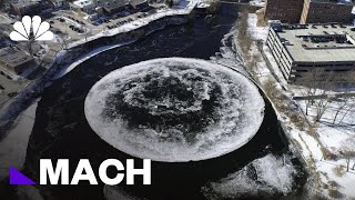 Watch This Huge Floating Ice Disk Found Rotating In Maine River | Mach | NBC News - NBCNEWS