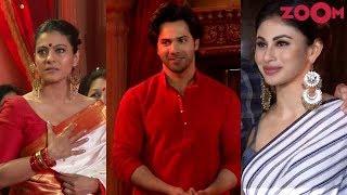 Varun Dhawan, Kajol & Mouni Roy at Durga Puja Pandal for celebrations - ZOOMDEKHO