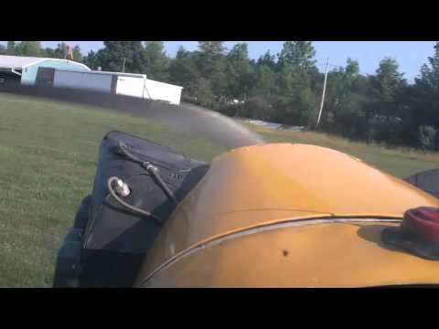 J-3 Cub full slip to landing at P32