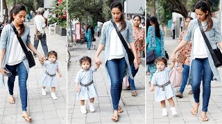 Baby Misha and mommy Mira Rajput go hand-in-hand for an evening stroll - TIMESOFINDIACHANNEL