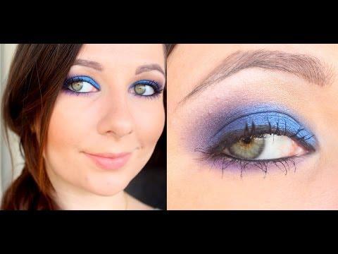 Maquiagem Azul Royal com Roxo esfumado