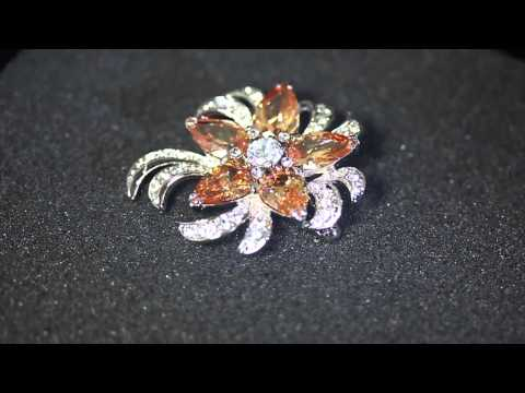 Venus Jewelry Store - Brooch - Silver Plated Citrine Gems Flower Brooch (2013)