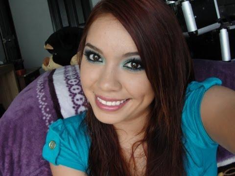 maquillaje con verde y azul♥♥♥