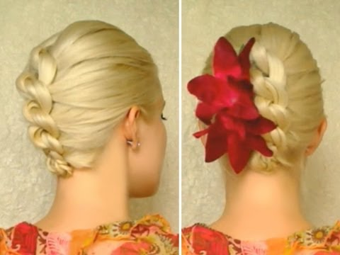 Christmas hairstyle for medium long hair Knotted braid New Years holiday updo tutorial