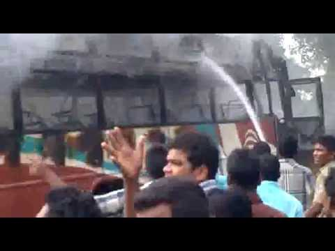 baripada the burning bus, partially rescued by public and fire brigade