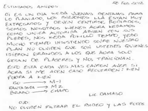 Carta Del Lic. Damaso Para El blog del narco.