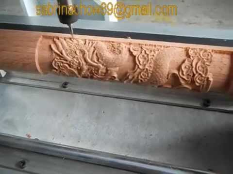 ZK-6090 4 Axis CNC Router Working on Round Wood