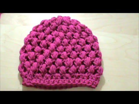 Πλεκτό σκουφάκι με πλέξη κουκουτσάκι (puff stitch) με βελονάκι