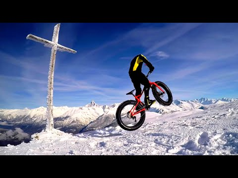 First fat descent peak Rothorn 2340 hm (snow fat bike freeride)