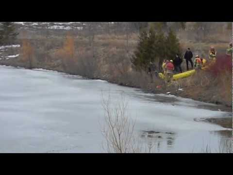 Dog Rescued in Markham Ontario after falling through thin ice