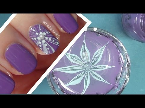 Purple Flower Water Marble on Short Nails | ArcadiaNailArt