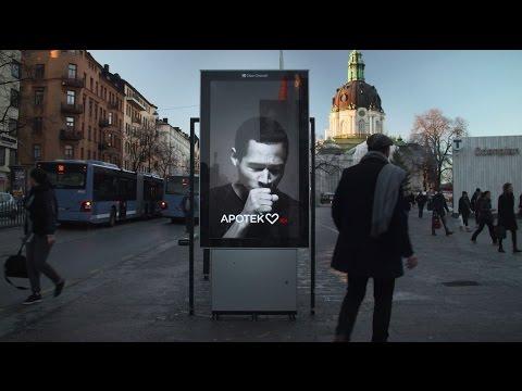 Kaszlący billboard stanął w największych miastach Szwecji