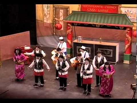 Sesión de Final, la agrupación Lestaulante Chino Casa Lafaé actúa hoy en la modalidad de Chirigotas.