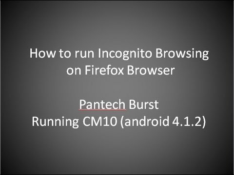 Private Browsing mode for Firefox on a Pantech Burst running CM10. Deletes history/cookies.