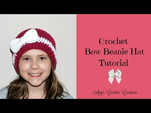 Crochet Bow Beanie Hat Tutorial