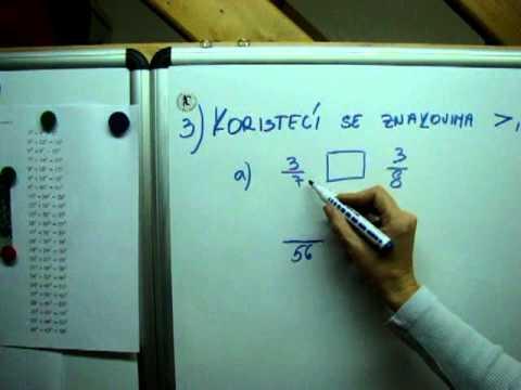 Matematika 6 - usporedi razlomke - zbirka riešenih zadataka za šesti razred