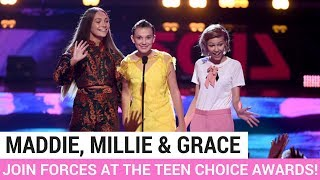 Maddie Ziegler, Millie Bobby Brown + Grace Vanderwaal FINALLY Join Forces at the Teen Choice Awards! - HOLLYWIRETV