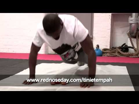 Tinie Tempah does press ups over raw eggs | Red Nose Day 2013