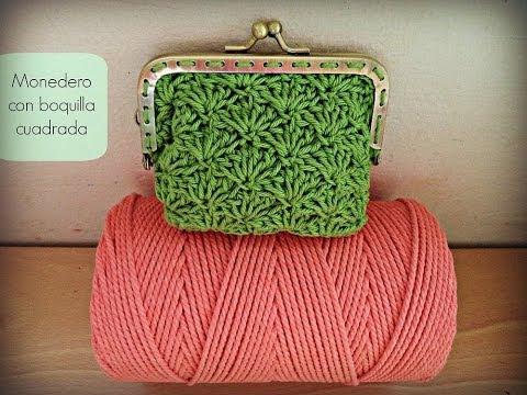 Monedero de ganchillo con boquilla cuadrada - Crochet purse (Tutorial)