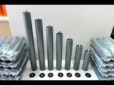 Patas metalicas con rosca, de diferentes alturas, para somieres y bases tapizadas. Color negro.