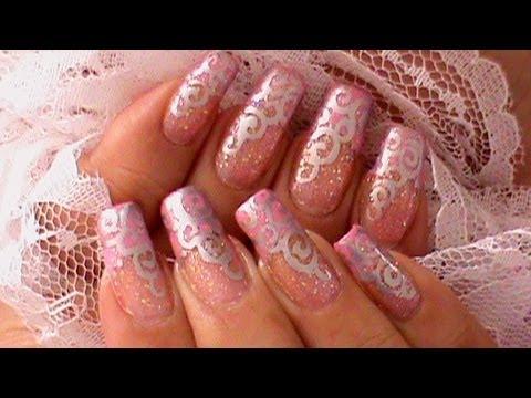 """Свадебный дизайн ногтей """"Серебрянные завитки"""""""