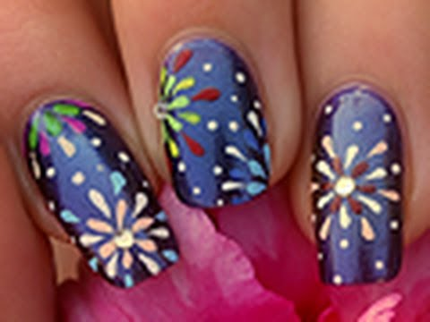 Nail art feux d'artifices / How to do Fireworks nails