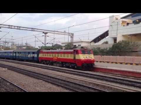 INDIAN RAILWAYS Arakkonam WAP1 22008 led AJJ-SBC Passenger en route to Bangalore arrives at BYPL