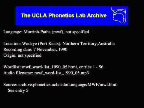 Murrinh-patha audio: mwf_word-list_1990_05