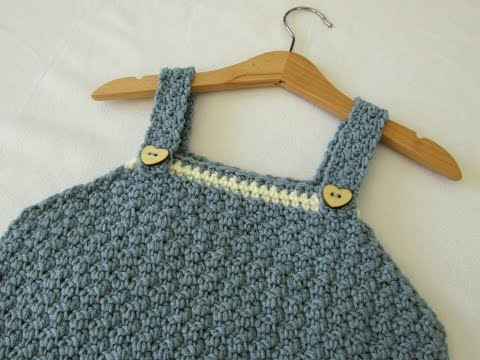 How to crochet a textured pinafore dress - any size